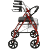 Drive Medical Four Wheel Rollator with Fold Up Removable Back Support Red 2